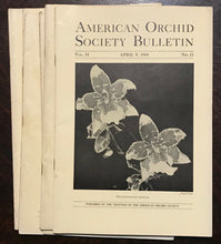 AMERICAN ORCHID SOCIETY BULLETIN, Original 1943 Issues - LOT OF 6 Journals