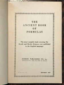 ANCIENT BOOK OF FORMULAS - 1967, Dorene Pub - OCCULT SPELLS WITCHCRAFT GRIMOIRE