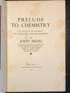 PRELUDE TO CHEMISTRY - John Read, 1st Ed 1937 with Rare DJ - ALCHEMY, MAGICK