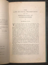SIGNED - Law of Vital Transfusion & Phenomenon of Consciousness - C. Reed, 1921
