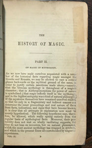 ENNEMOSER'S HISTORY OF MAGIC - Complete 2 Vols - 1st Ed, 1854 - MAGICK OCCULT