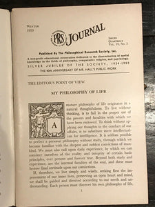 MANLY P. HALL, PHILOSOPHICAL RESEARCH SOCIETY JOURNAL - Full Year, 4 Issues 1959