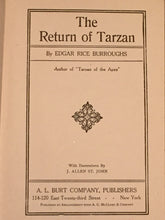 THE RETURN OF TARZAN by Edgar Rice Burroughs — A.L. Burt, 1916