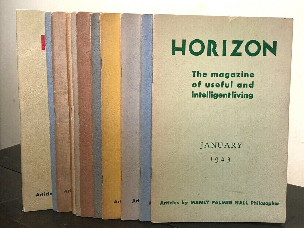MANLY P. HALL - HORIZON JOURNAL - Full YEAR, 12 ISSUES, 1943 - PHILOSOPHY OCCULT