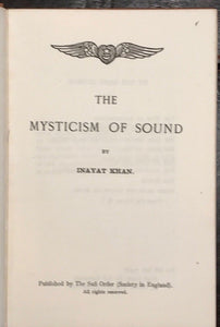 THE MYSTICISM OF SOUND - INAYAT KAHN, 1st/1st 1923 - Sufi Order Mantra Chanting