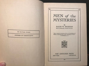 MEN OF THE MYSTERIES - Sockman - 1st Ed, 1927 - Esoteric, Occult, Biblical Study