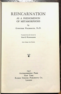 1937 - REINCARNATION AS A PHENOMENON OF METAMORPHOSIS - REBIRTH SOUL OCCULT