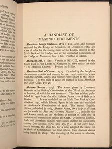 A HANDLIST OF MASONIC DOCUMENTS - Knoop + Jones, 1st 1942 - Masons, Freemasonry