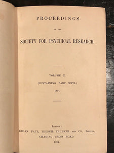1894 - SOCIETY FOR PSYCHICAL RESEARCH - OCCULT SPIRITUALISM MAGIC GHOSTS PSYCHIC