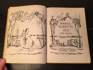 BAYOU SUZETTE, Lois Lenski 1st Ed/4th 1943 HC, Illustrations - NEW ORLEANS CAJUN