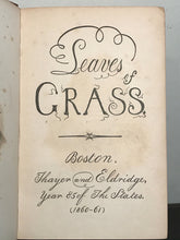 LEAVES OF GRASS, Walt Whitman CONTROVERSIAL 3rd Ed Pirate Copy BANNED BOOK 1860