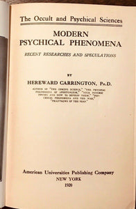 MODERN PSYCHICAL PHENOMENA - Carrington, 1920 - OCCULT DIVINATION GHOSTS