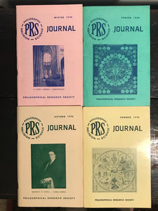 MANLY P. HALL, PHILOSOPHICAL RESEARCH SOCIETY JOURNAL - Full Year, 4 Issues 1970