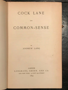 COCK LANE AND COMMON SENSE - Andrew Lang - 1st Ed, 1894 - GHOSTS PSYCHIC SPIRITS