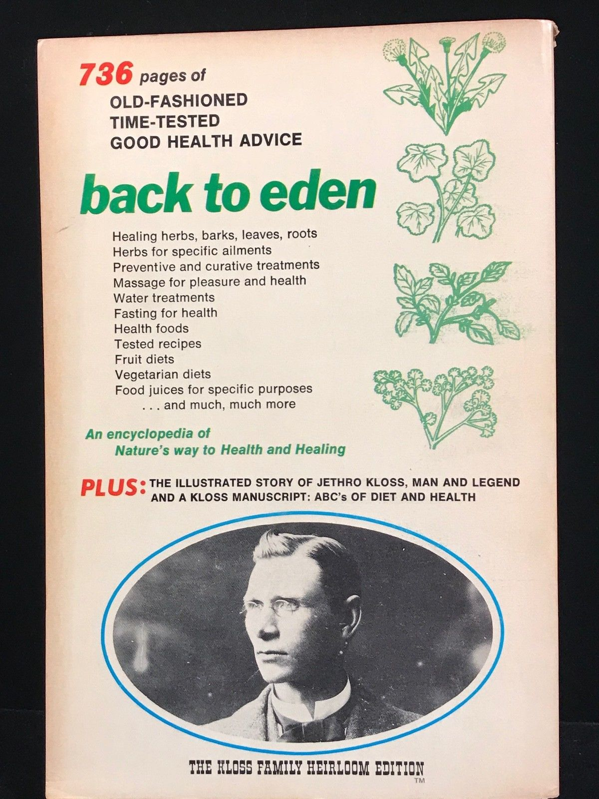 BACK TO EDEN by JETHRO KLOSS - 1973, 4th Ed - HERBAL