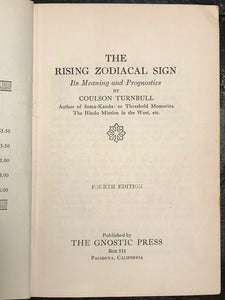RISING ZODIACAL SIGN: MEANING & PROGNOSTICS - Turnbull, 1920s ASTROLOGY ZODIAC