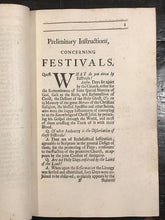 1708 - A COMPANION FOR THE FESTIVALS AND FASTS OF THE CHURCH OF ENGLAND