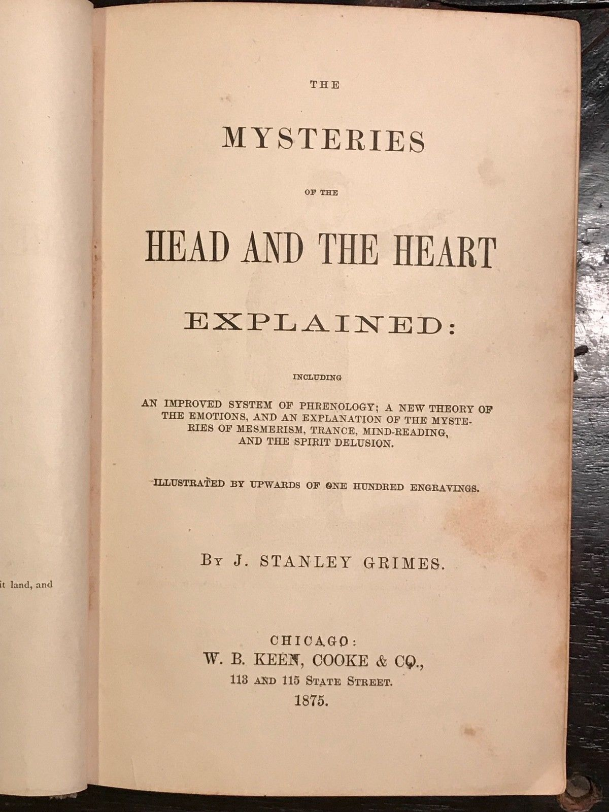 1875 - MYSTERIES OF THE HEAD & HEART EXPLAINED, Graves, 1st/1st