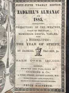 1880-1889 ZADKIEL 10 ALMANACS, HEIROGLYPHIC FUTURE PREDICTIONS - ASTROLOGY