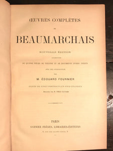 OEUVRES DE BEAUMARCHAIS, FOURNIER 20 HANDCOLORED PLATES FRENCH COMEDY DRAMA 1880