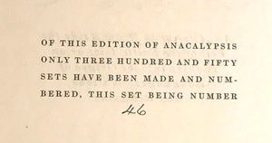ANACALYPSIS - Higgins, LIMITED ED, #46 of 350, 1927 - PANDEISM WORLD RELIGIONS