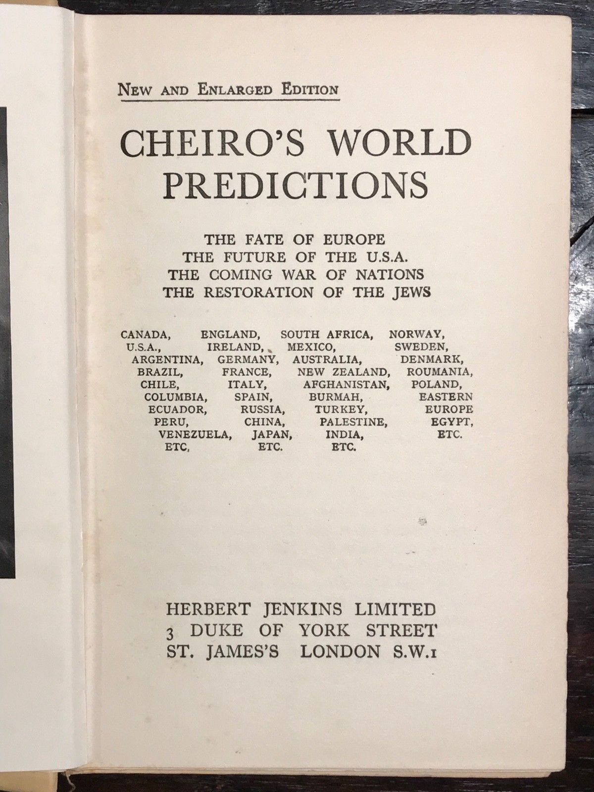 CHEIRO'S WORLD PREDICTIONS - CHEIRO (Warner) - 1928, Psychic