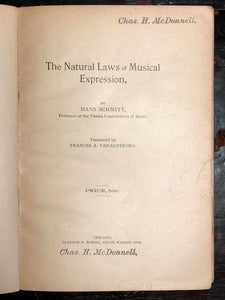 1894 NATURAL LAWS OF MUSICAL EXPRESSION - HANS SCHMITT - 1st/1st Music Physics
