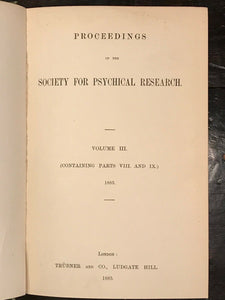 1885 - SOCIETY FOR PSYCHICAL RESEARCH - BLAVATSKY FRAUD THEOSOPHY PARAPSYCHOLOGY