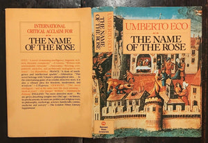 THE NAME OF THE ROSE by Umberto Eco - SIGNED Early Edition, 1983, HC/DJ
