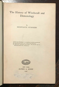 HISTORY OF WITCHCRAFT AND DEMONOLOGY, Summers - 1st, 1926 - WITCHES DEMONS SATAN