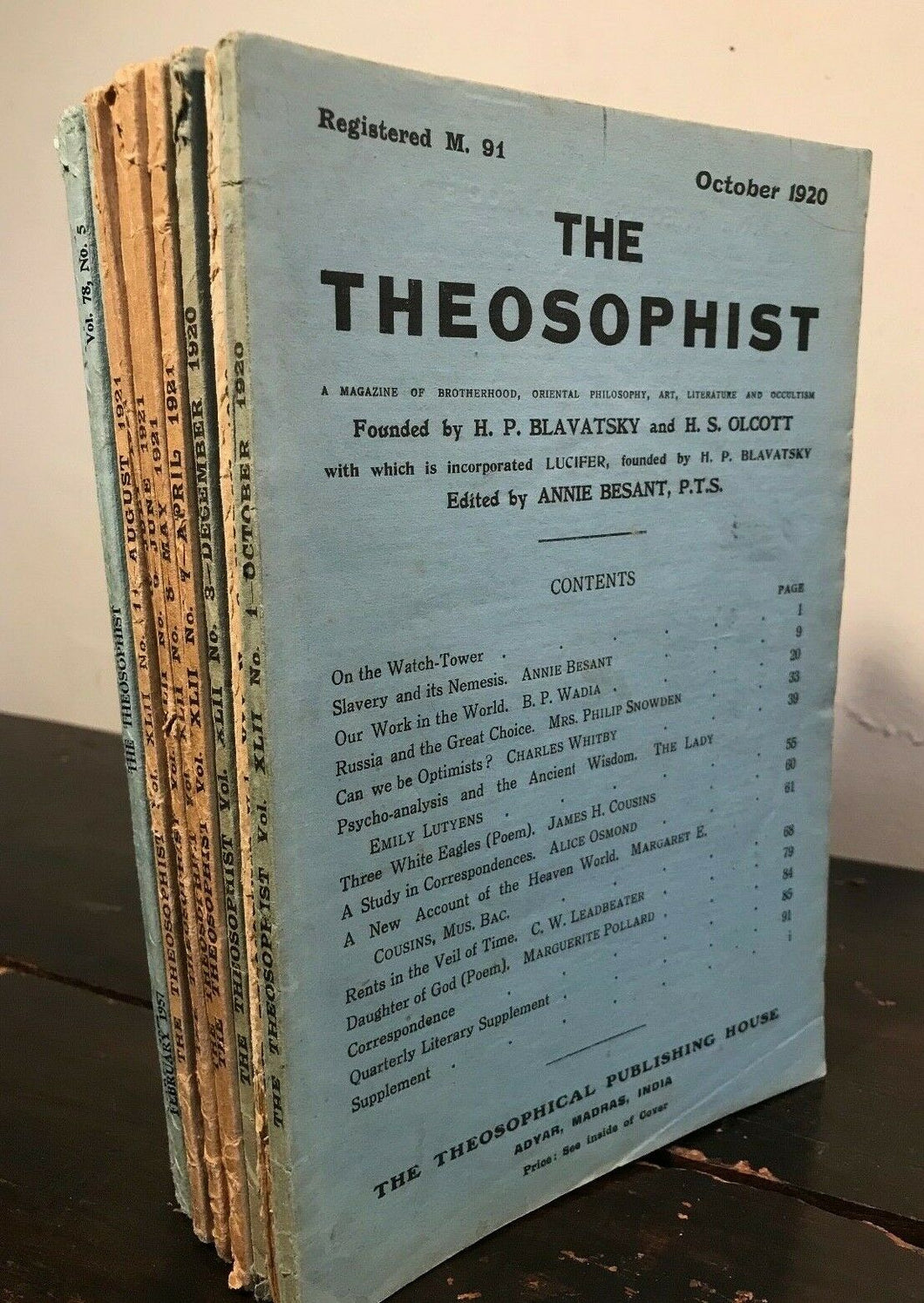 THE THEOSOPHIST - 15 Original Journals, 1920-59 - BLAVATSKY, BESANT, LEADBETTER