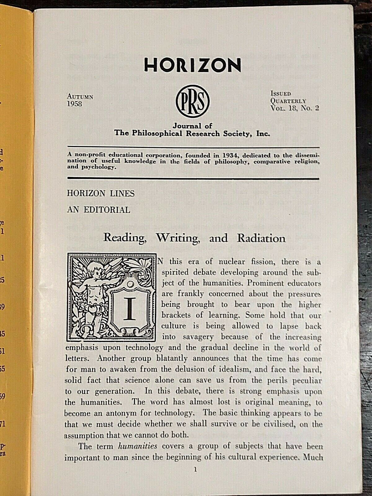 MANLY P  HALL - HORIZON JOURNAL - Full Last FINAL YEAR, 1958