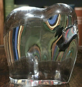 BACCARAT FRANCE CLEAR GLASS ELEPHANT PAPERWEIGHT / FIGURINE
