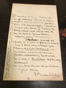 AUTHOR SIGNED LETTER - ASPECTS OF DEATH IN ART & EPIGRAM - F. PARKES WEBER, 1914