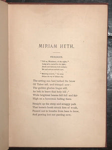SIGNED - MIRIAM HETH: A TALE OF THE TIMES OF CHRIST, Rev. A.J. Holt 1st/1st 1891