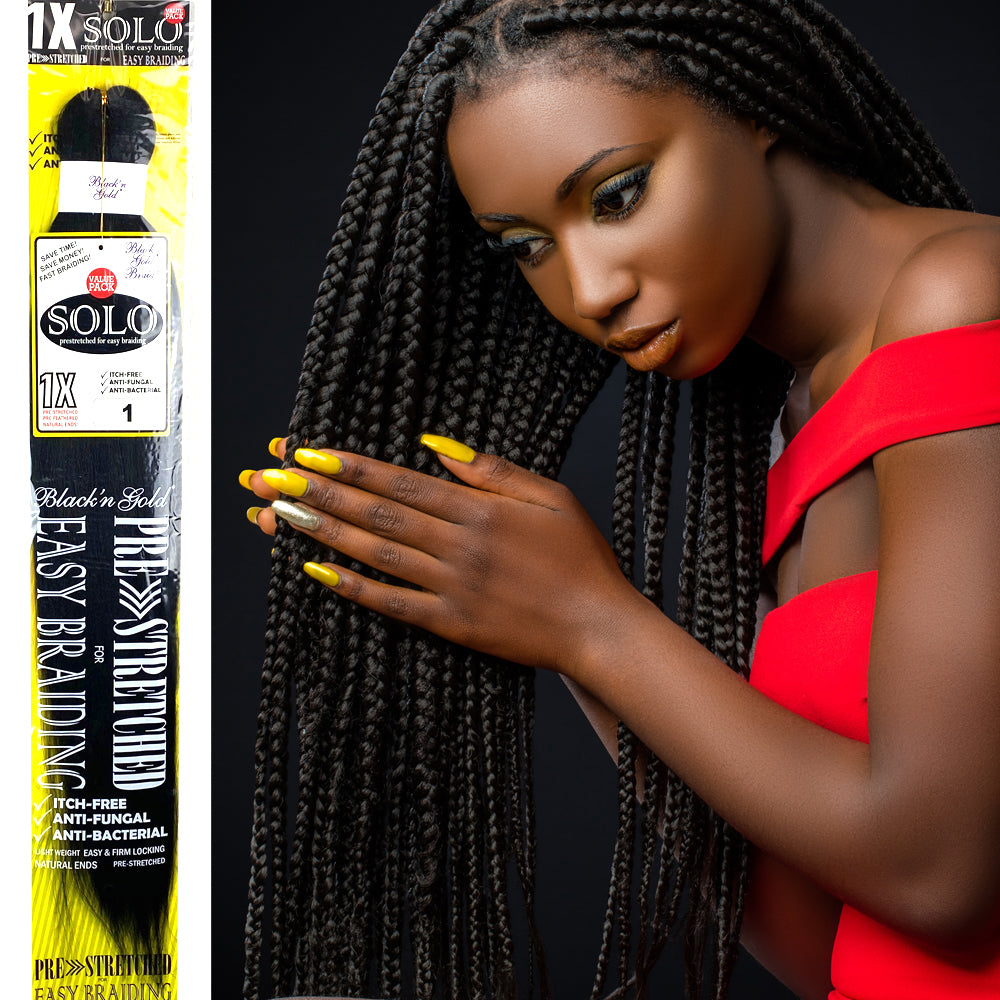 "3 Pack Value Deal - 1X Solo Pre Stretched Braiding Hair 28"" for Easy Braiding"