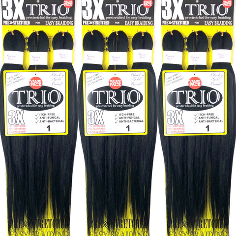 "10 Pack Value Deal - 3X TRIO Pre Stretched Braiding Hair 28"" for Easy Braiding"