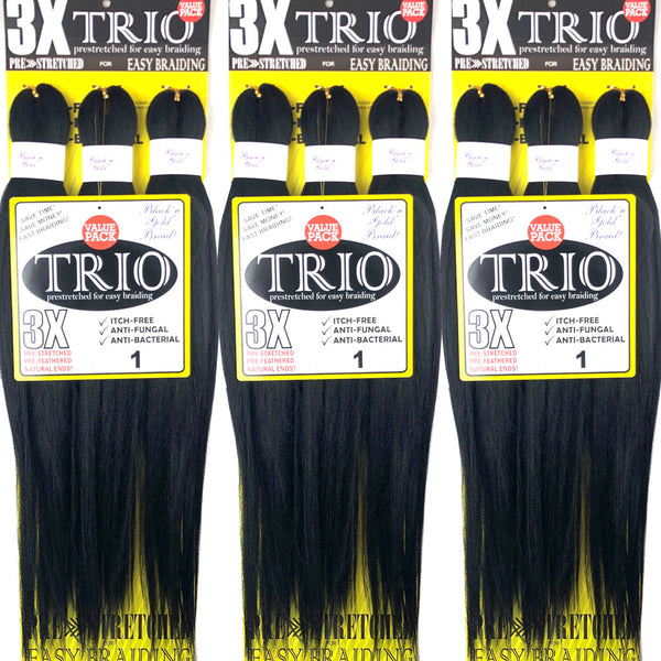 "5 Pack Value Deal - 3X TRIO Pre Stretched Braiding Hair 28"" for Easy Braiding"