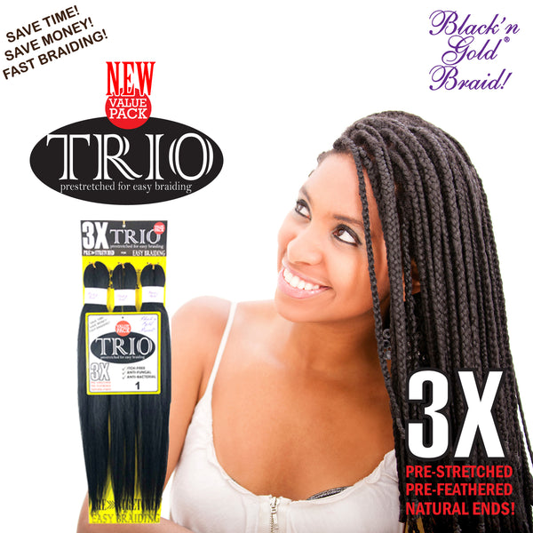 "3 Pack Value Deal - 3X TRIO Pre Stretched Braiding Hair 28"" for Easy Braiding"