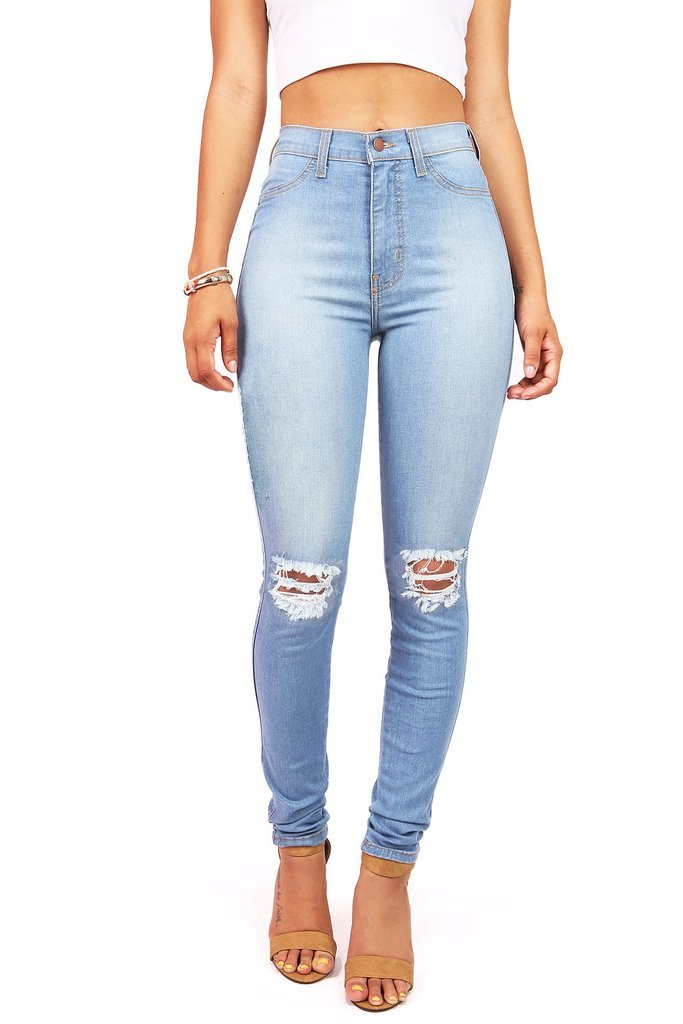 Vibrant Women's Faded Ripped Knee High Waist Skinny Jeans