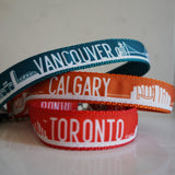 Canadian city dog collars. Seen here in Toronto, Calgary and Vancouver prints.