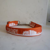 Calgary skyline dog collar with metal chain by Canadian dog brand Bone and Bred