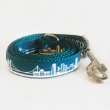 West coast dog leash with Vancouver print in teal