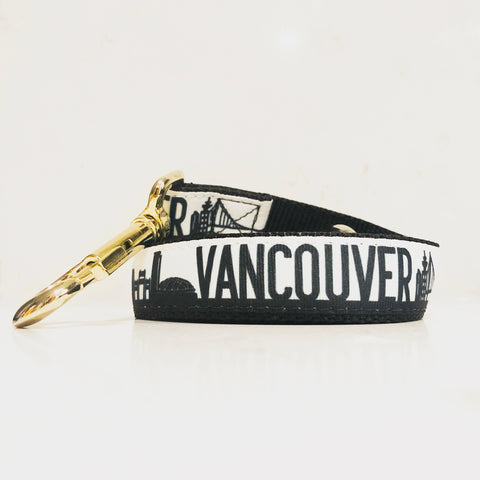 Be the talk of the Vancouver dog parks with the exclusive YVR leash in black and white