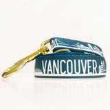 The exclusive Van city leash for Dogs of Vancouver in in teal and silver