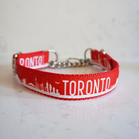 The Toronto martingale chain dog collar in red and white