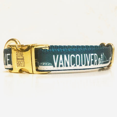 Vancouver collar with gold buckle from Bone and Bred, a Canadian dog brand