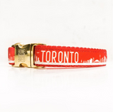 Toronto dog collars with metal buckle in red and white
