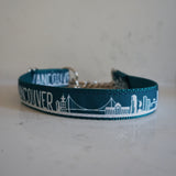 Vancouver skyline martingale in teal from Canadian dog collar company Bone and Bred