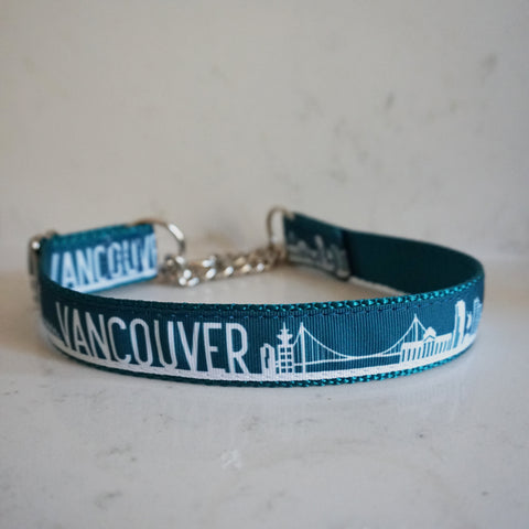 Teal Vancouver martingale collar with skyline print from Bone and Bred